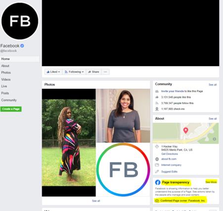 Facebook Page Transparency Screenshot