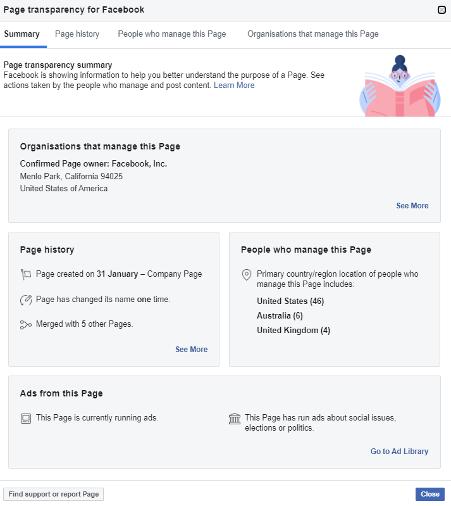Facebook transparency summary
