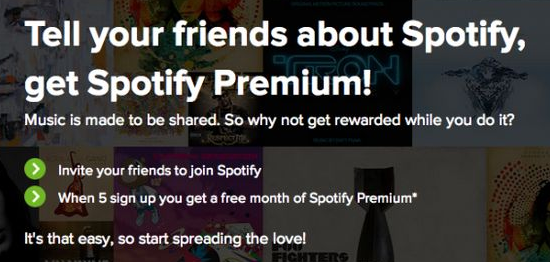 Referral scheme promotional example spotify